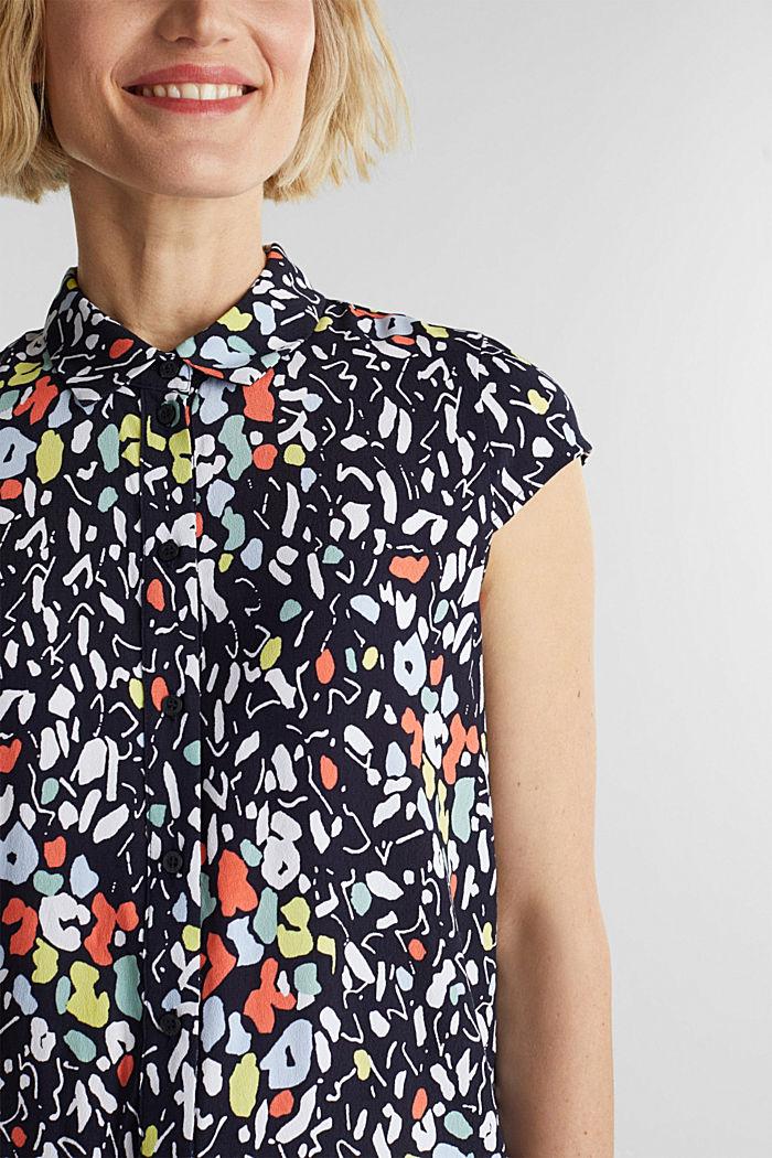 Top façon blouse à teneur en LENZING™ ECOVERO™, NAVY, detail image number 2