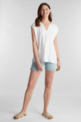 Textured blouse made of LENZING™ ECOVERO™, WHITE, detail