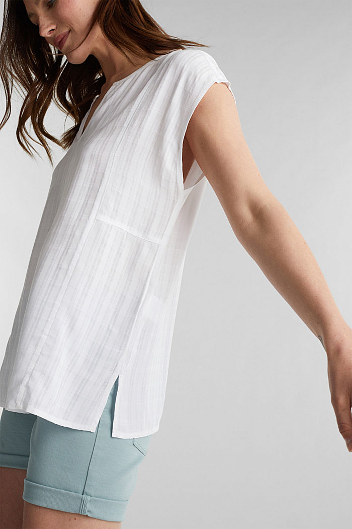Textured blouse made of LENZING™ ECOVERO™, WHITE, detail image number 2