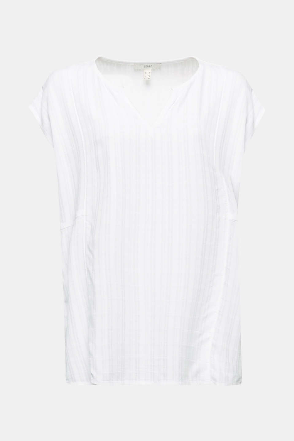 Textured blouse made of LENZING™ ECOVERO™, WHITE, detail image number 6