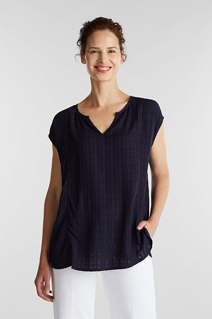 Textured blouse made of LENZING™ ECOVERO™, NAVY, overview