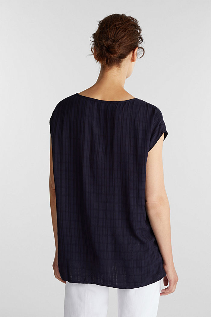 Textured blouse made of LENZING™ ECOVERO™, NAVY, detail image number 3
