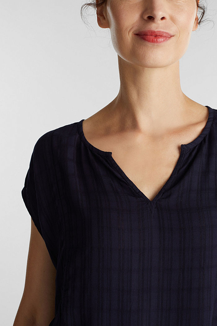 Textured blouse made of LENZING™ ECOVERO™, NAVY, detail image number 2