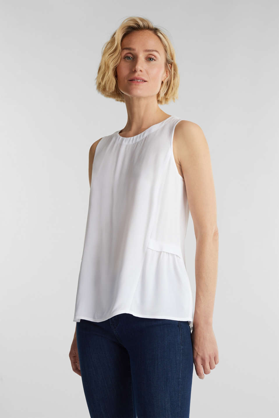 Blouse top with LENZING™ ECOVERO, WHITE, detail image number 0