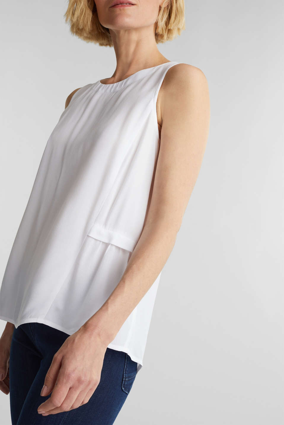 Blouse top with LENZING™ ECOVERO, WHITE, detail image number 2