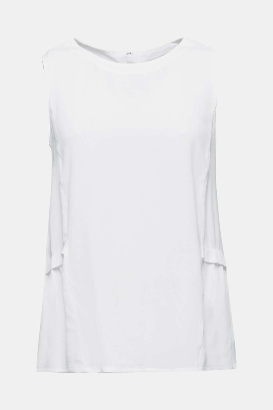 Blouse top with LENZING™ ECOVERO, WHITE, detail image number 6