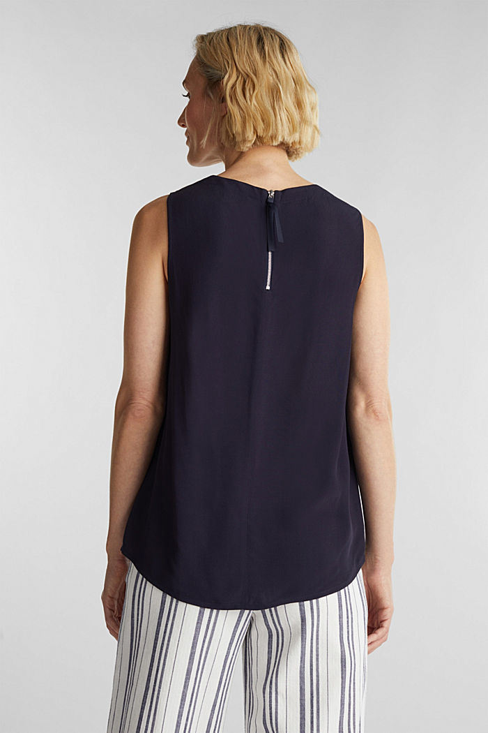 Blouse top with LENZING™ ECOVERO, NAVY, detail image number 3
