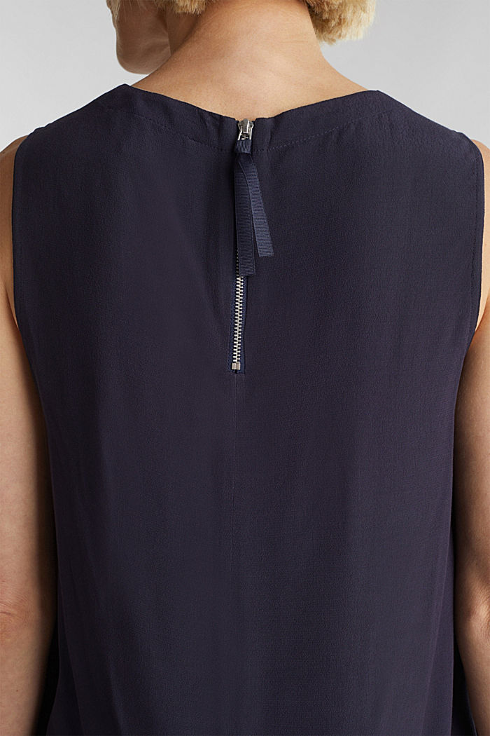 Blouse top with LENZING™ ECOVERO, NAVY, detail image number 5