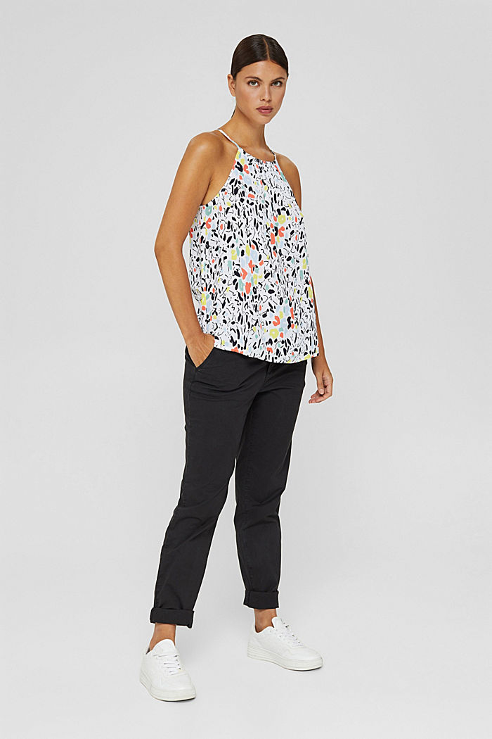 Patterned blouse top with LENZING™ ECOVERO™, WHITE, detail image number 1