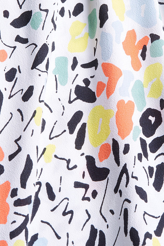 Patterned blouse top with LENZING™ ECOVERO™, WHITE, detail image number 4