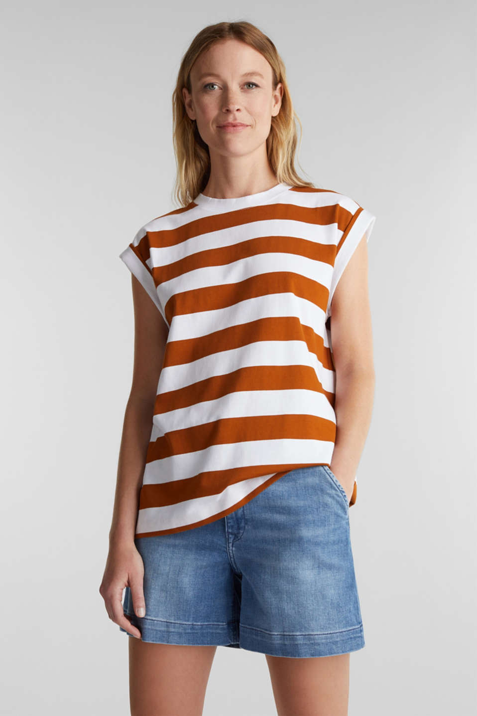 Striped T-shirt, 100% cotton, RUST BROWN 4, detail image number 0