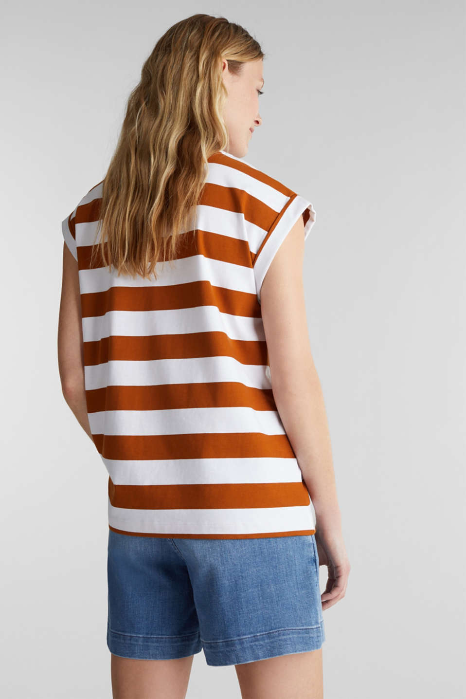 Striped T-shirt, 100% cotton, RUST BROWN 4, detail image number 2
