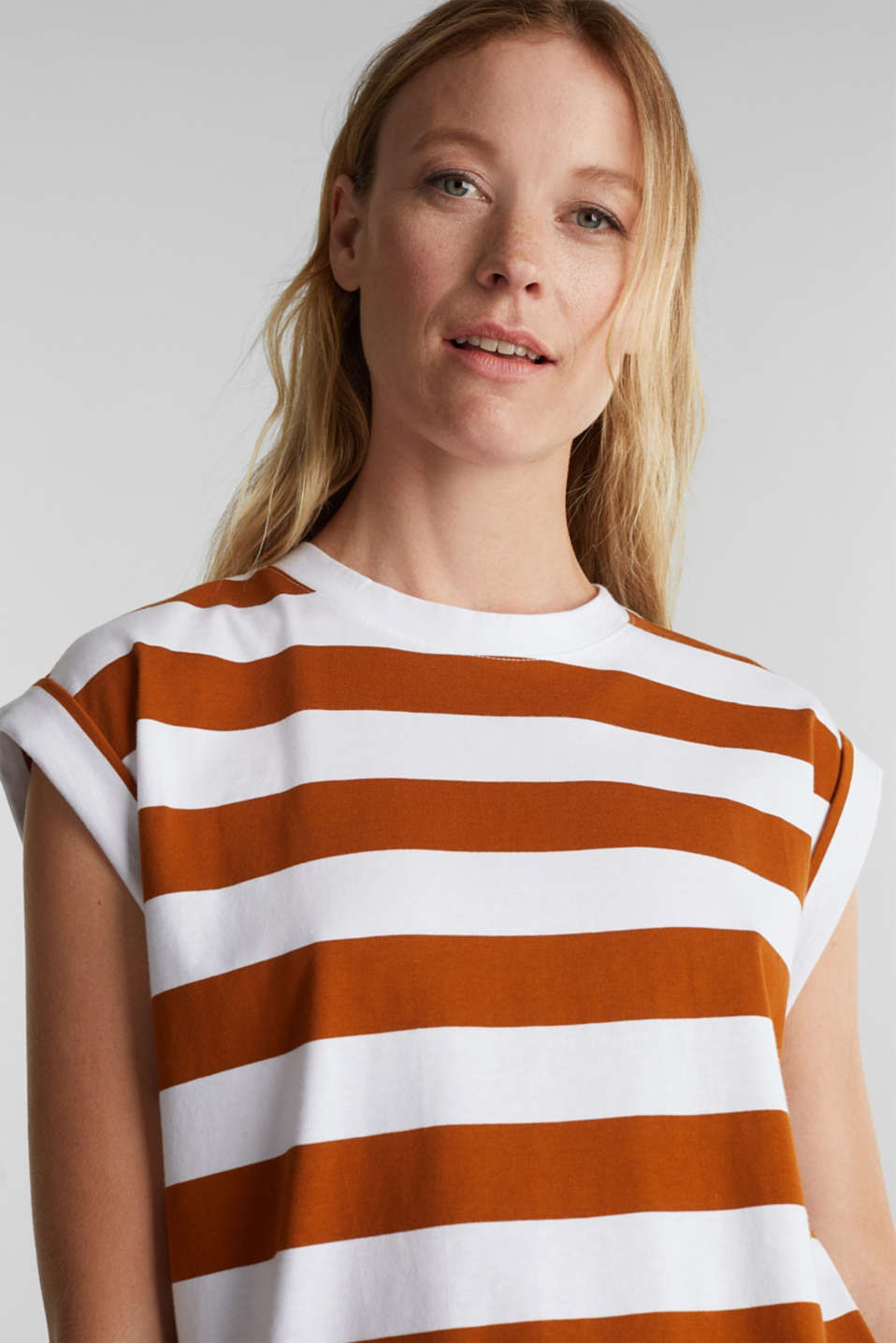 Striped T-shirt, 100% cotton, RUST BROWN 4, detail image number 4