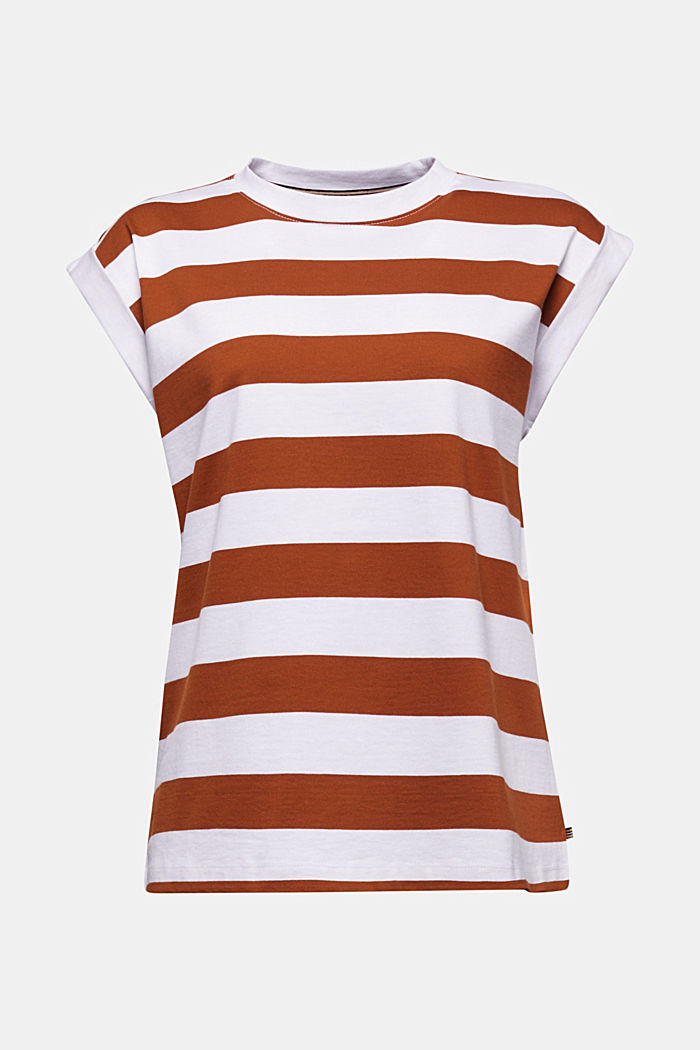 Striped T-shirt, 100% cotton, RUST BROWN, detail image number 5