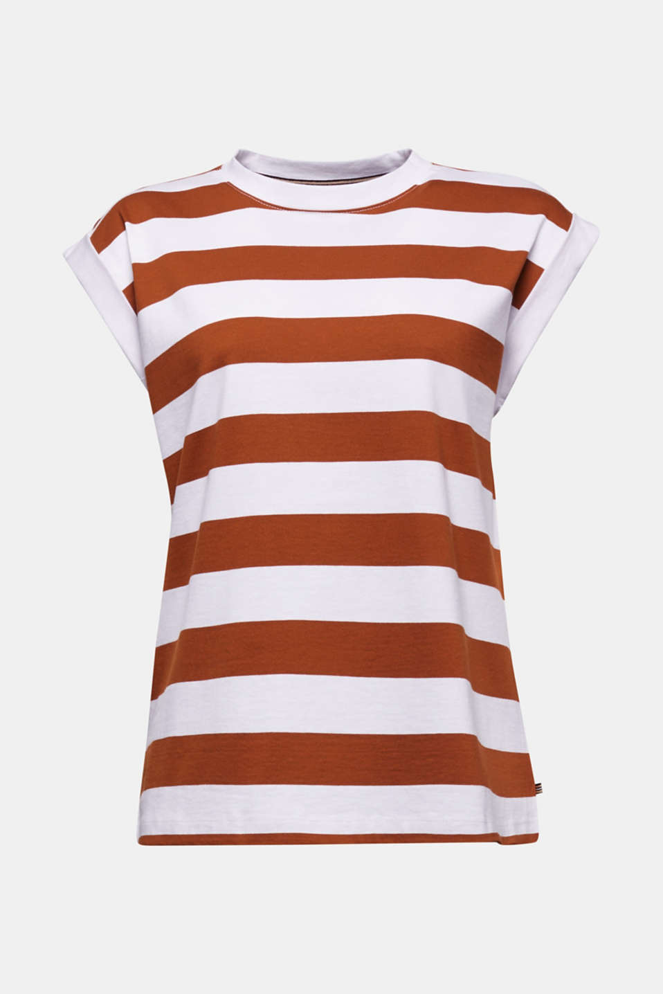 Striped T-shirt, 100% cotton, RUST BROWN 4, detail image number 5