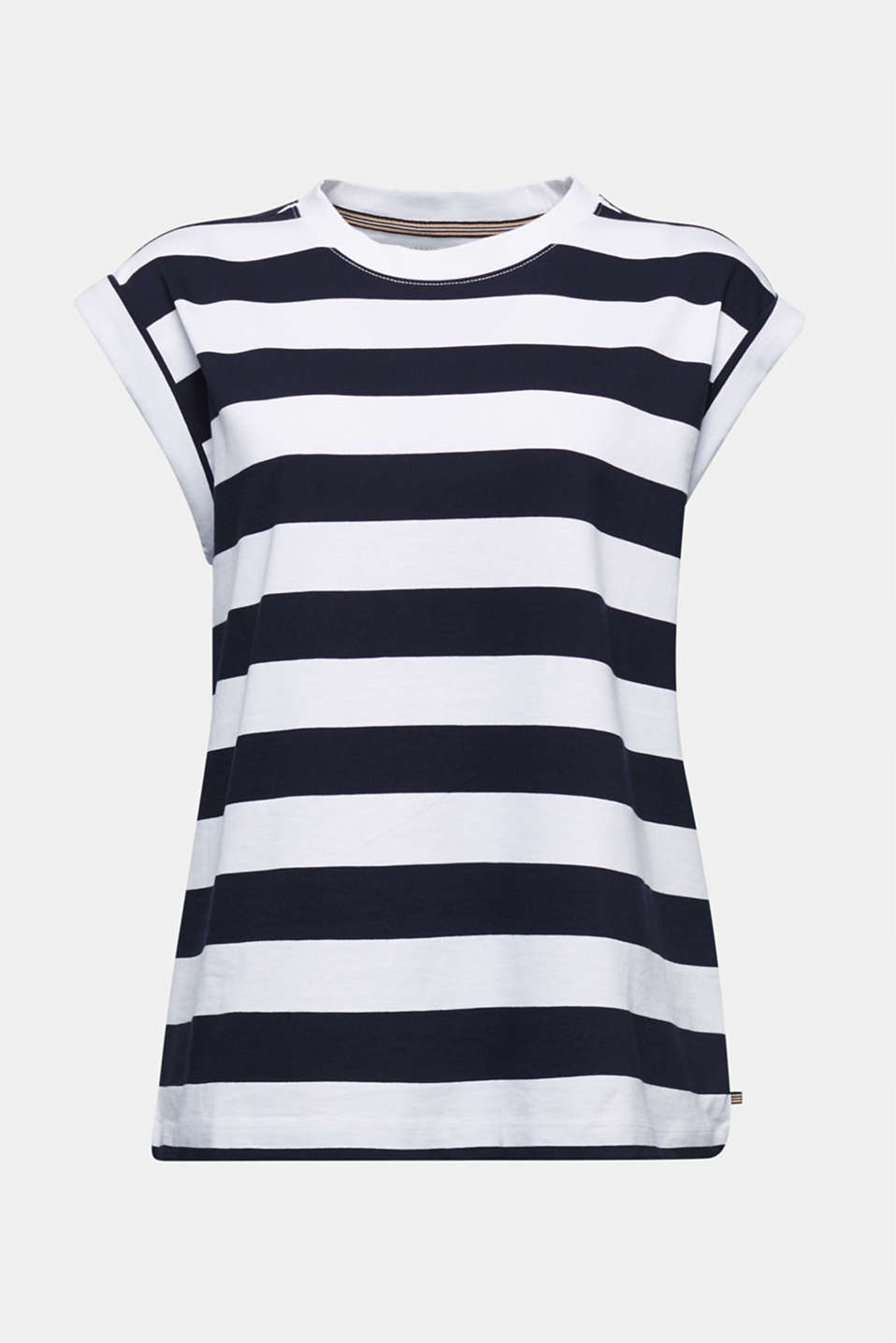 Striped T-shirt, 100% cotton, NAVY, detail image number 7