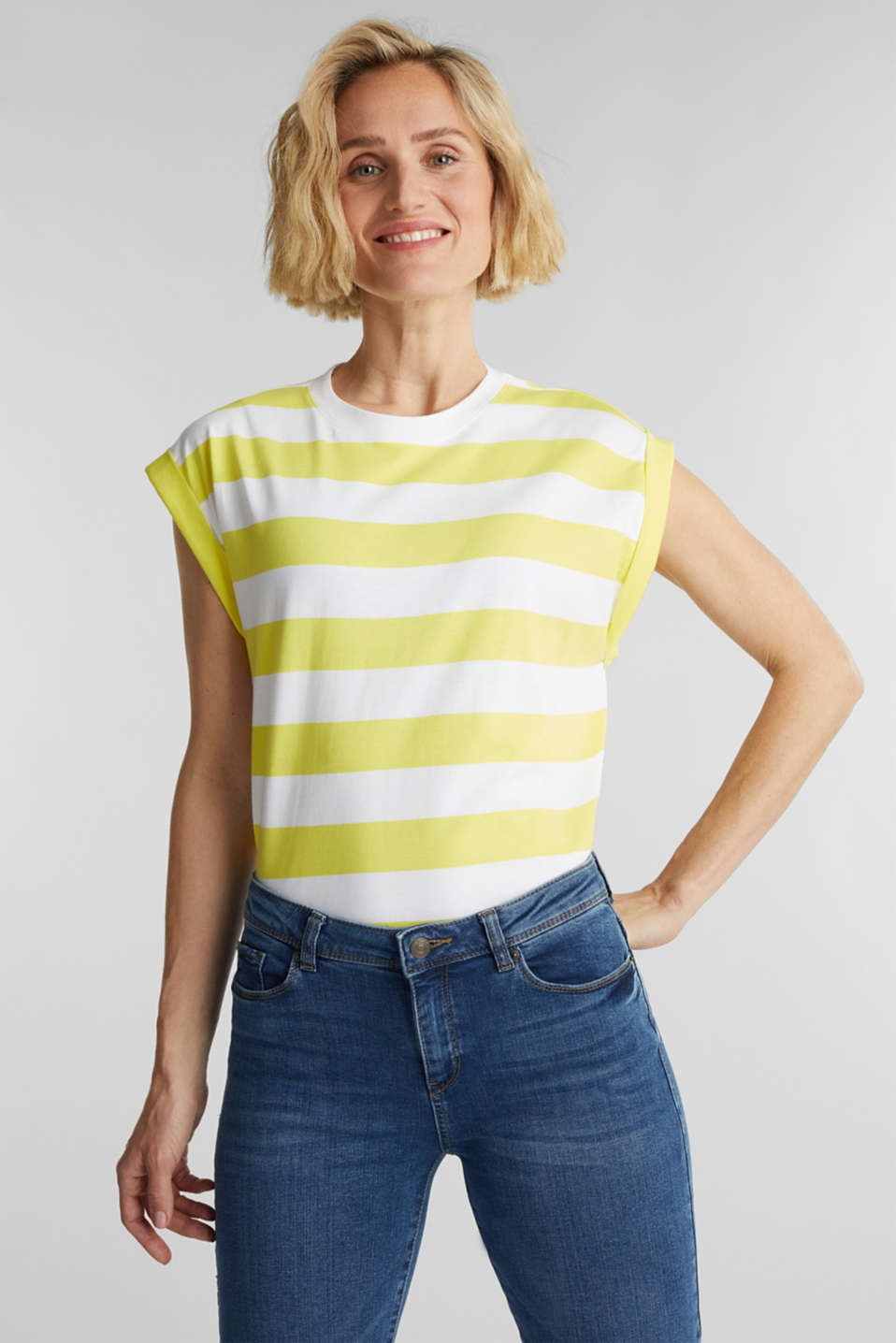 Striped T-shirt, 100% cotton, BRIGHT YELLOW 4, detail image number 0
