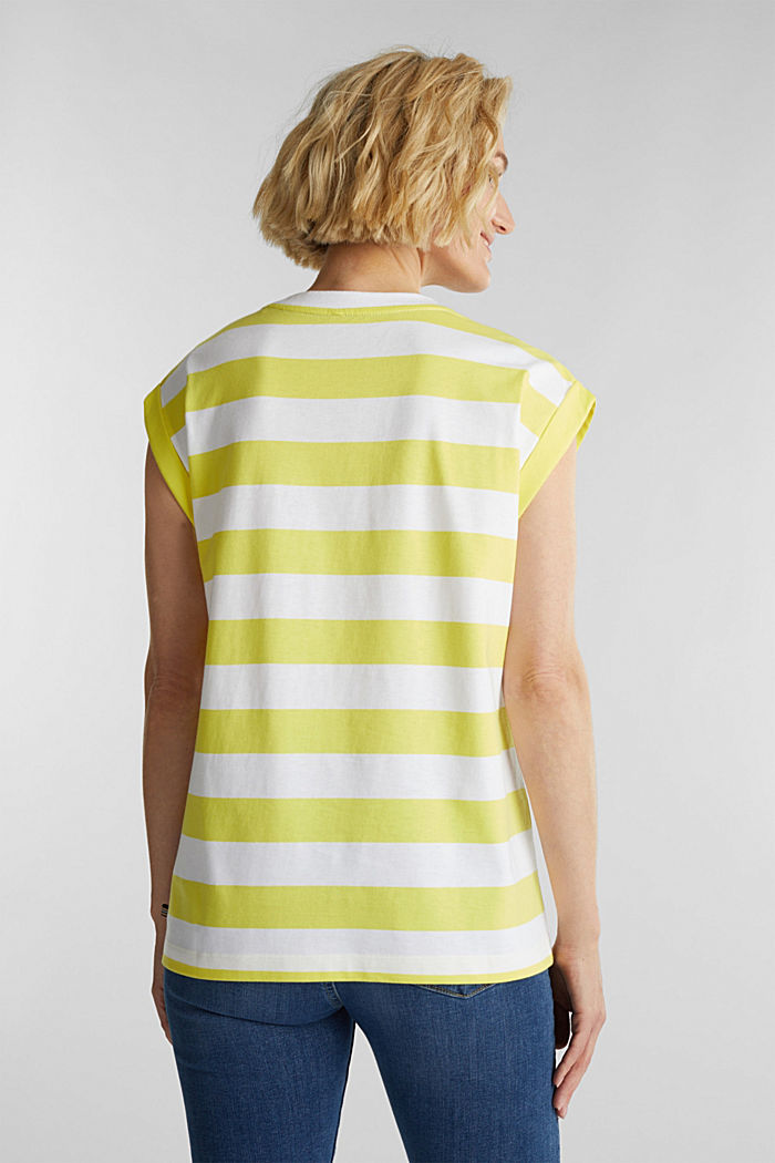 Striped T-shirt, 100% cotton, BRIGHT YELLOW, detail image number 3