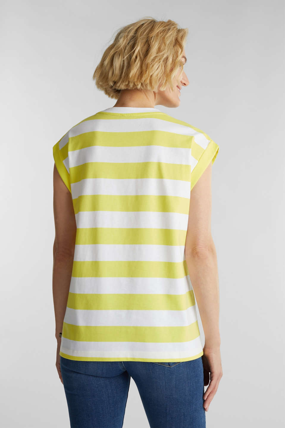 Striped T-shirt, 100% cotton, BRIGHT YELLOW 4, detail image number 3