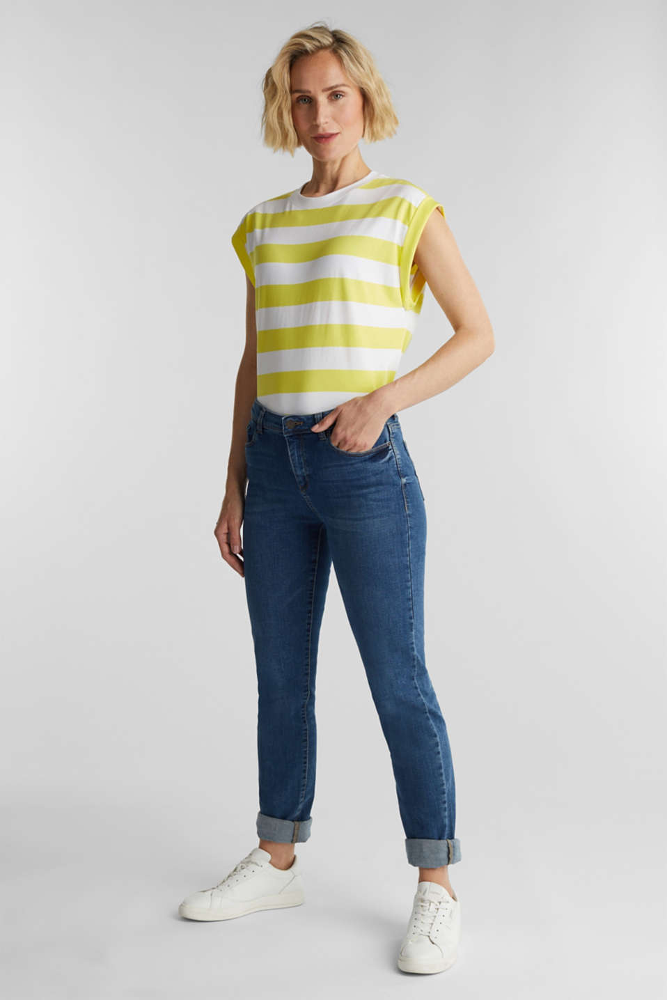 Striped T-shirt, 100% cotton, BRIGHT YELLOW 4, detail image number 1