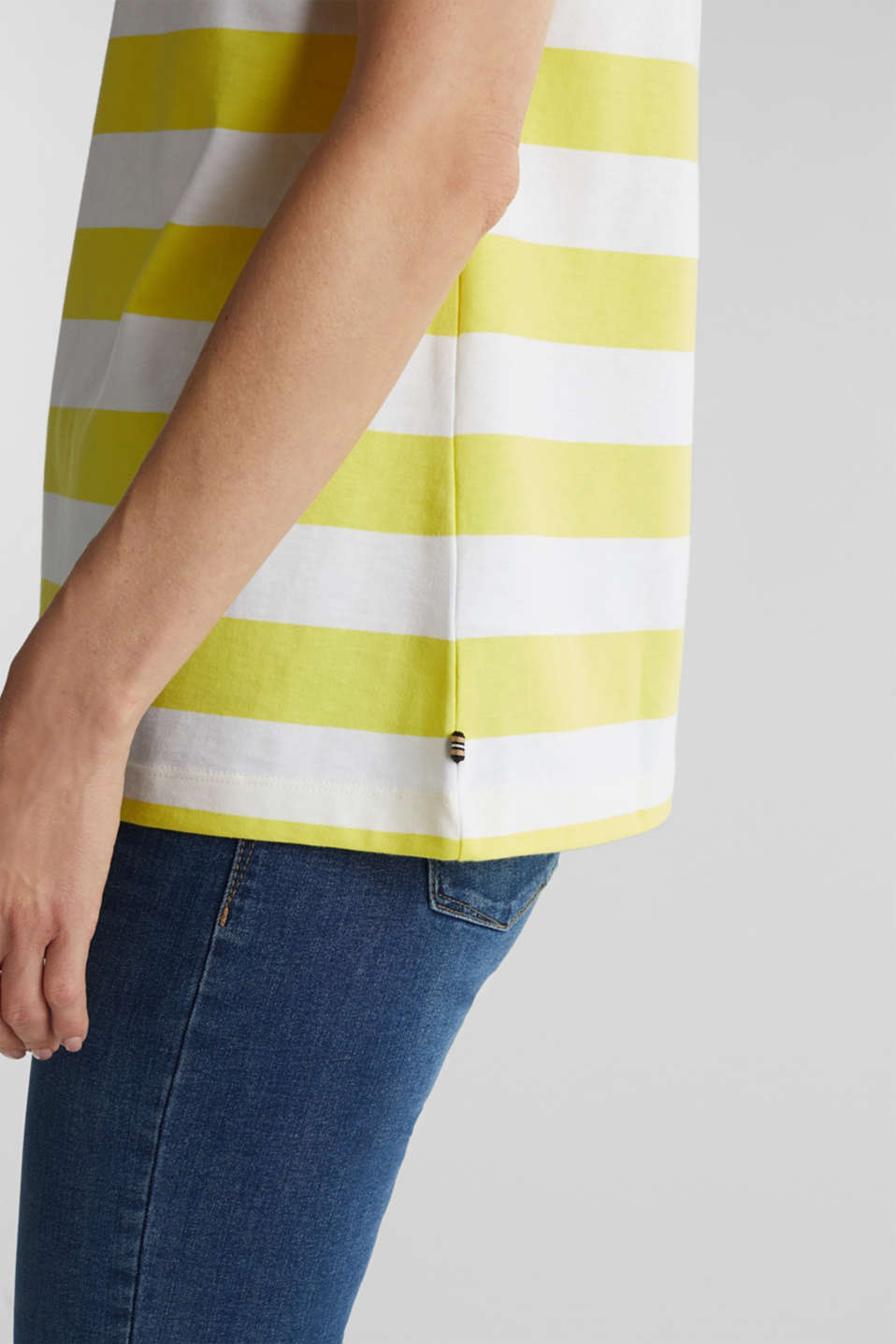 Striped T-shirt, 100% cotton, BRIGHT YELLOW 4, detail image number 2