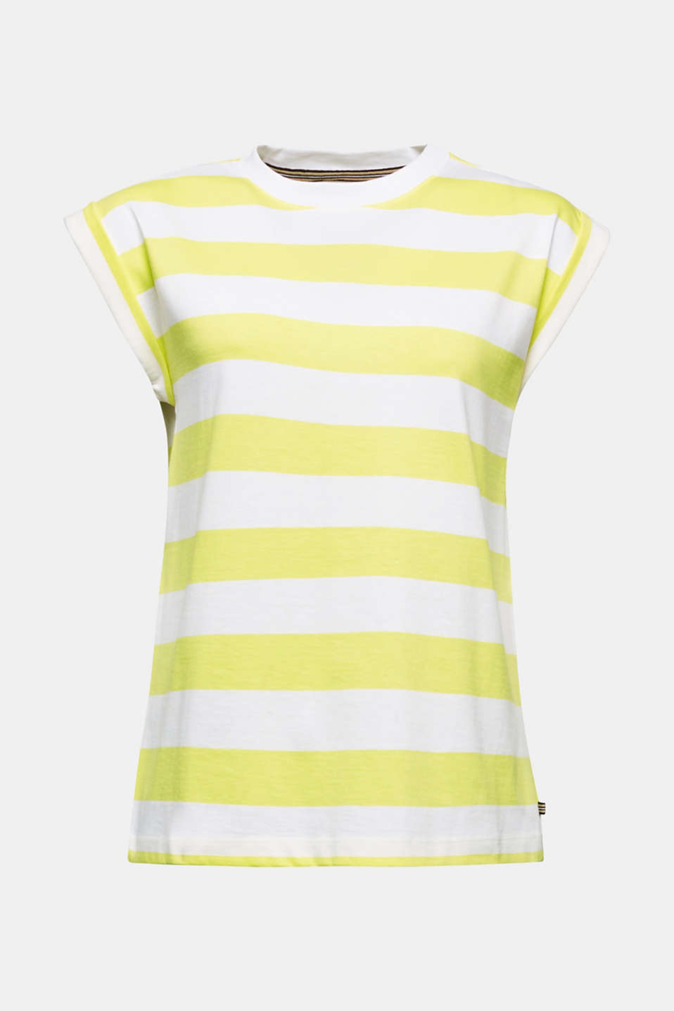 Striped T-shirt, 100% cotton, BRIGHT YELLOW 4, detail image number 5