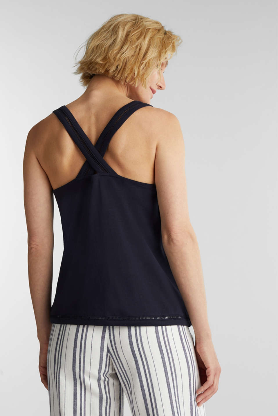 Top with broderie anglaise, NAVY, detail image number 3