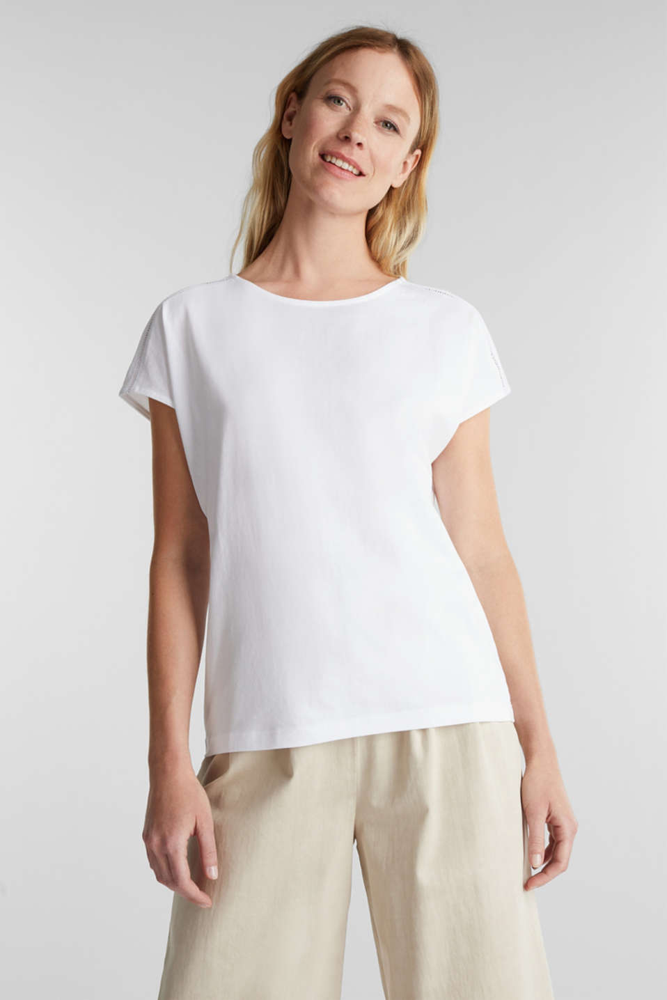 Esprit - T-shirt with broderie anglaise, organic cotton
