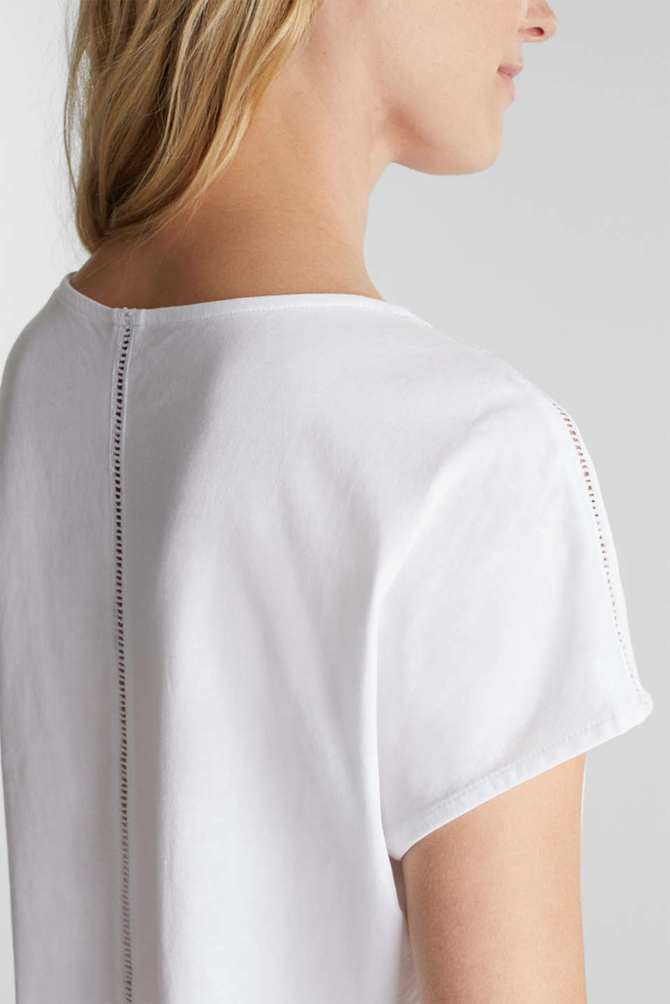 T-shirt with broderie anglaise, organic cotton, WHITE, detail image number 2