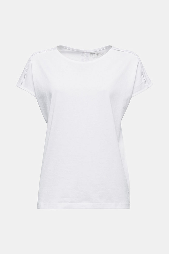 T-shirt with broderie anglaise, organic cotton, WHITE, detail image number 5