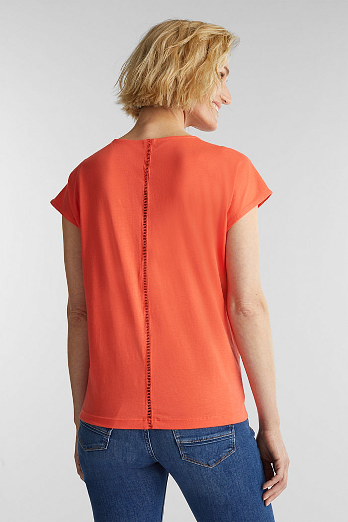 Tričko s dírkovoukrajkou, bio bavlna, CORAL, detail image number 3