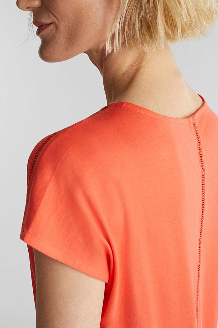 Tričko s dírkovoukrajkou, bio bavlna, CORAL, detail image number 2