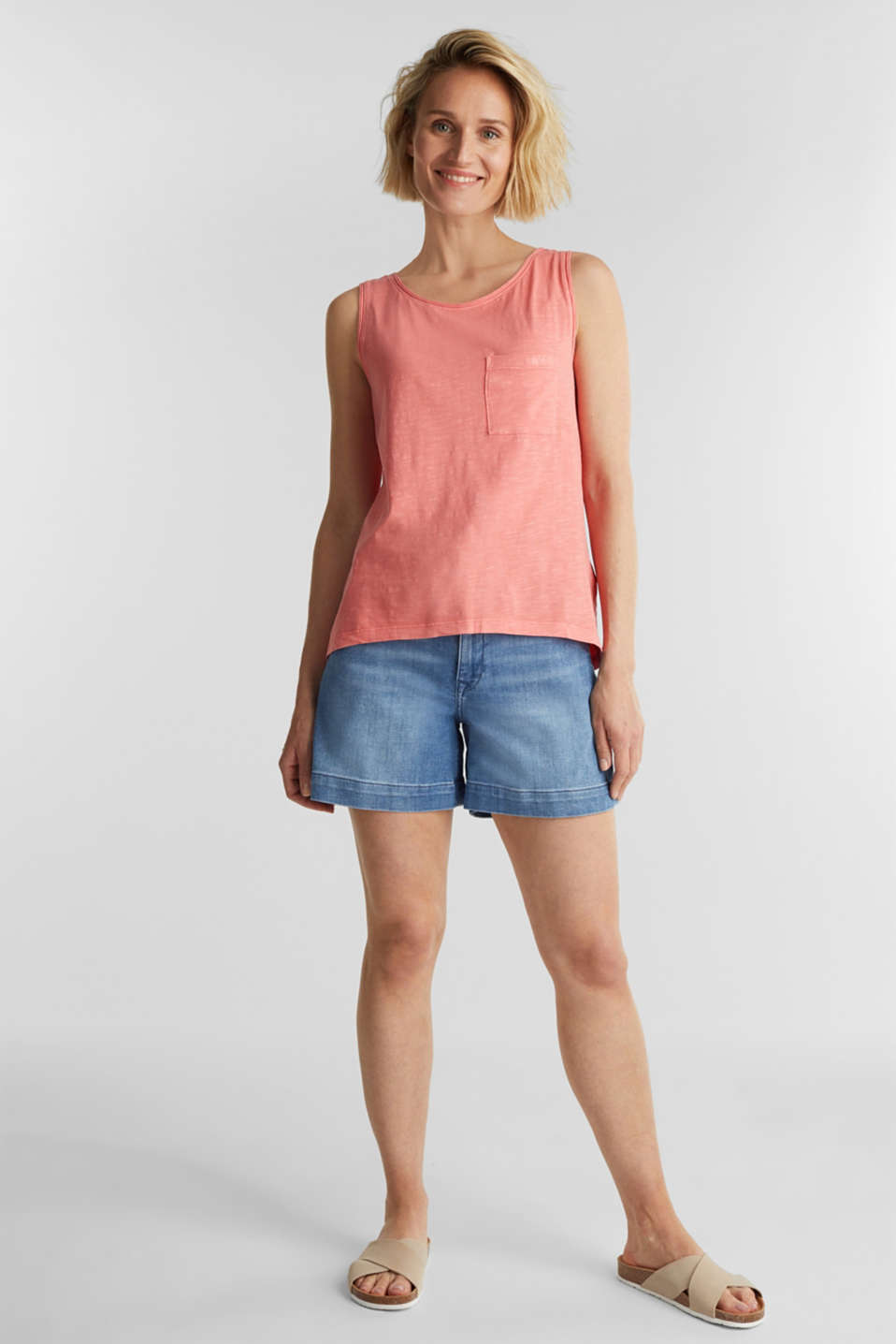 Top made of 100% organic cotton, CORAL, detail image number 1
