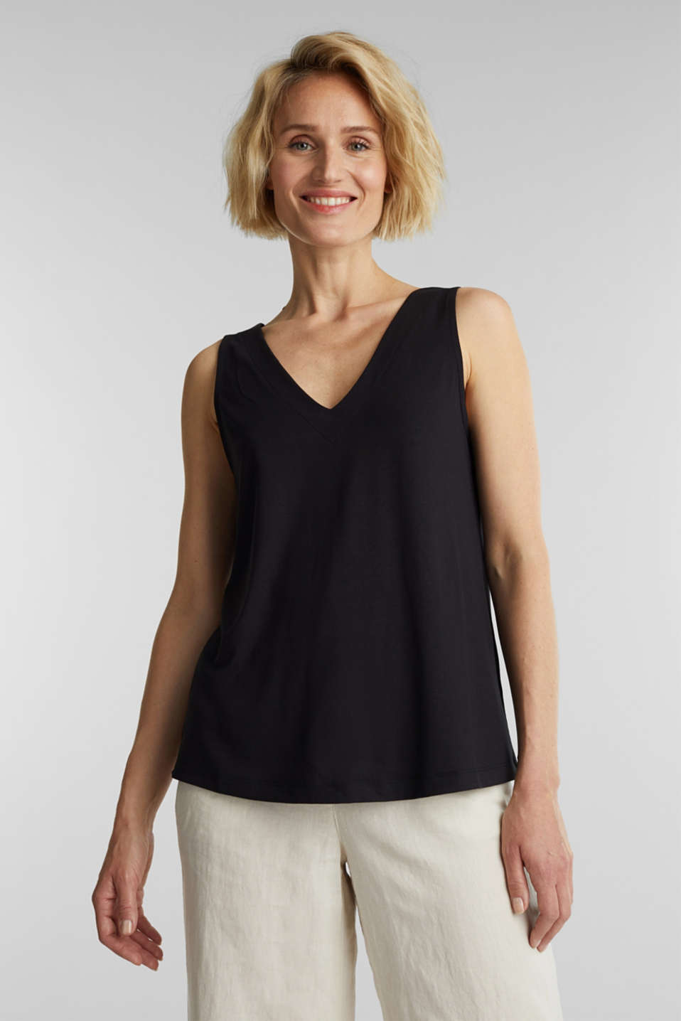 Top with a bow detail, BLACK, detail image number 0