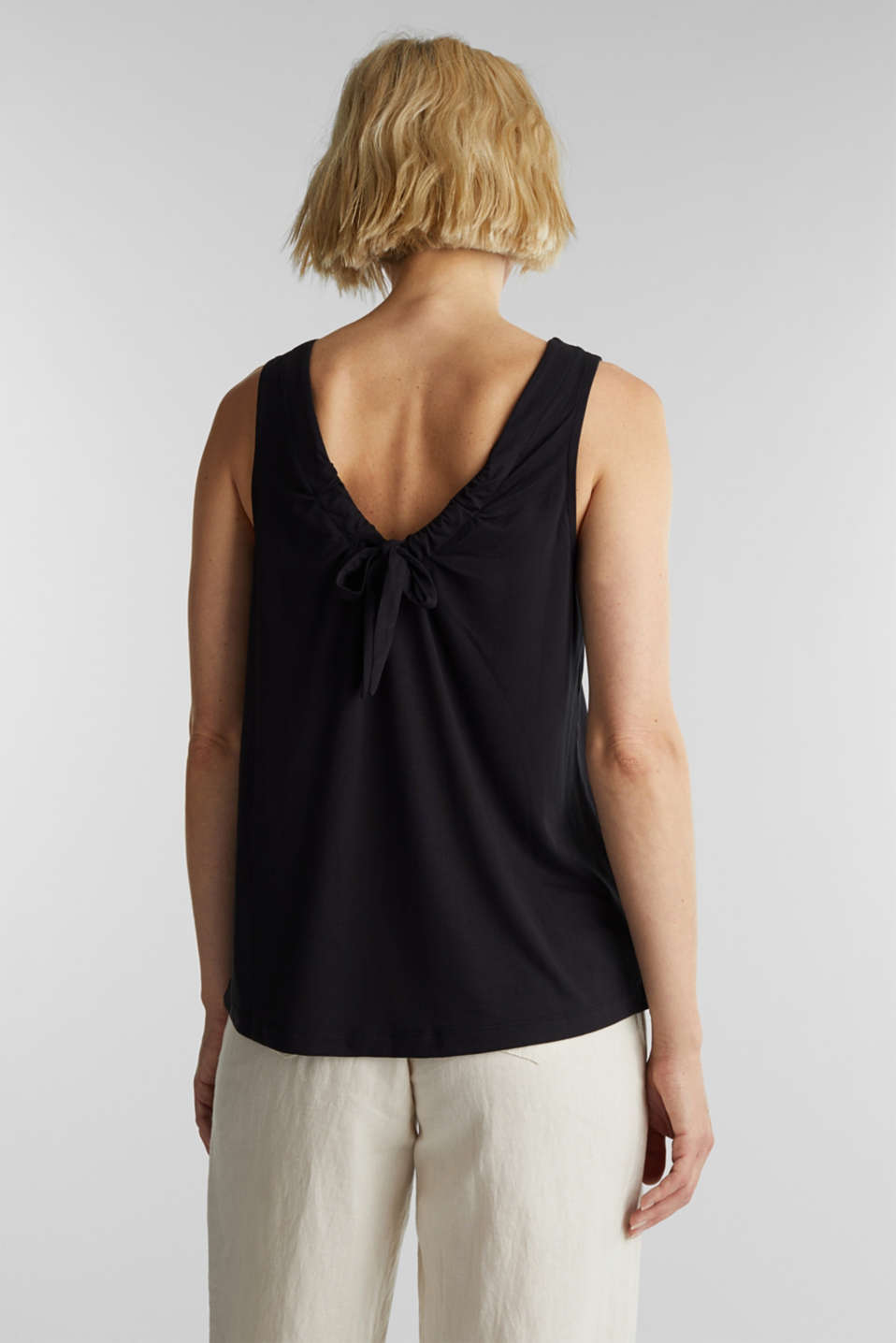 Top with a bow detail, BLACK, detail image number 3