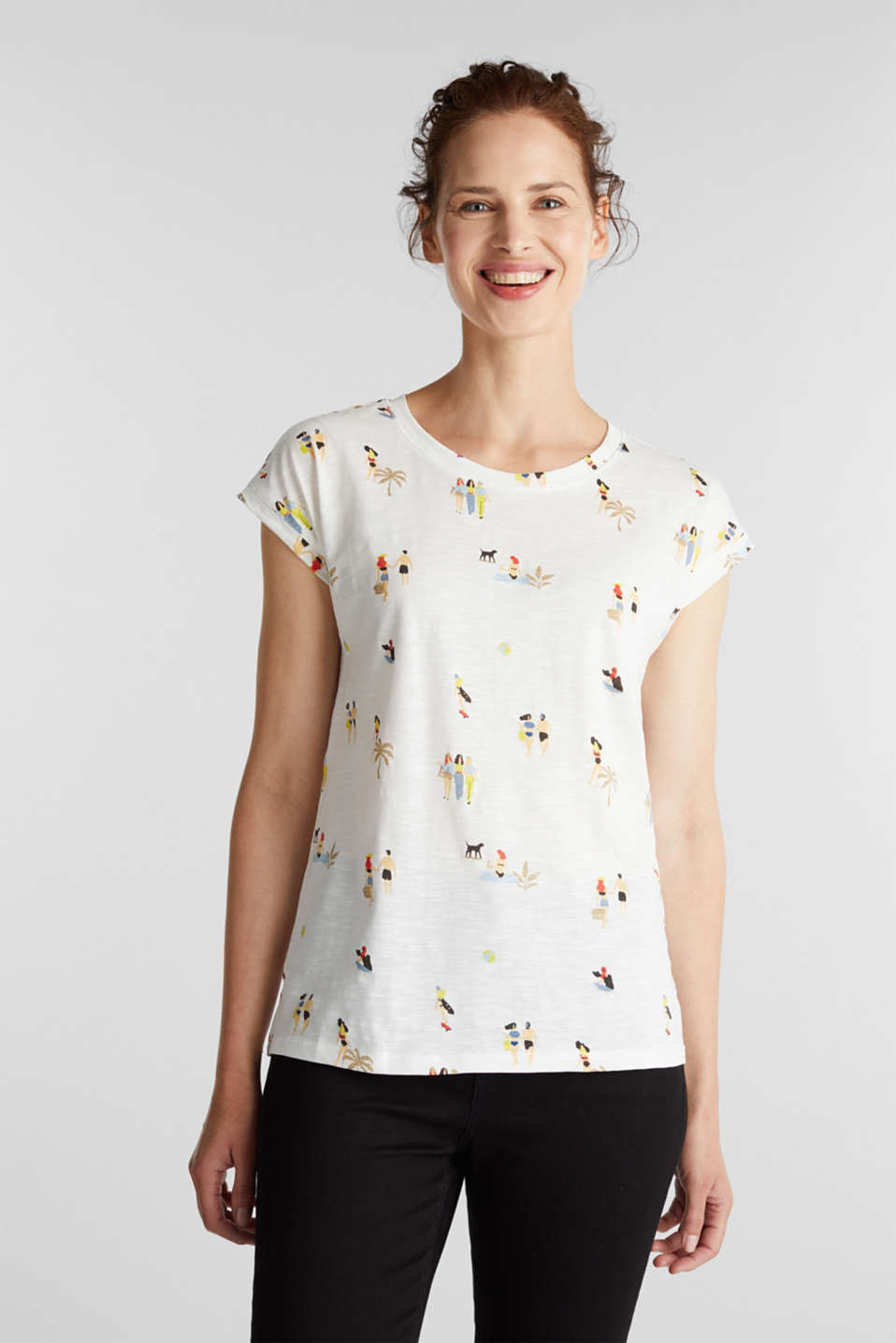Print T-shirt, 100% organic cotton, OFF WHITE, detail image number 0
