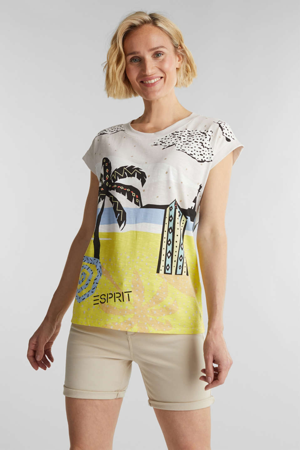 Esprit - Print T-shirt, 100% organic cotton