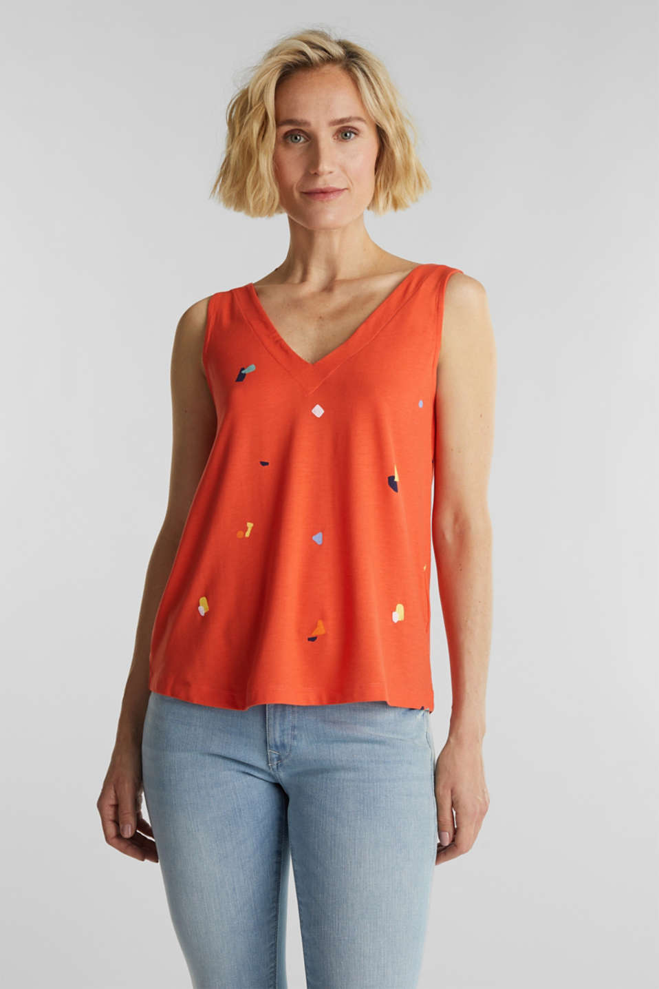 Esprit - Top met print en strikdetail