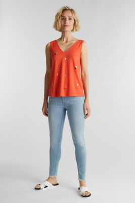 Print top with a bow detail, CORAL, detail