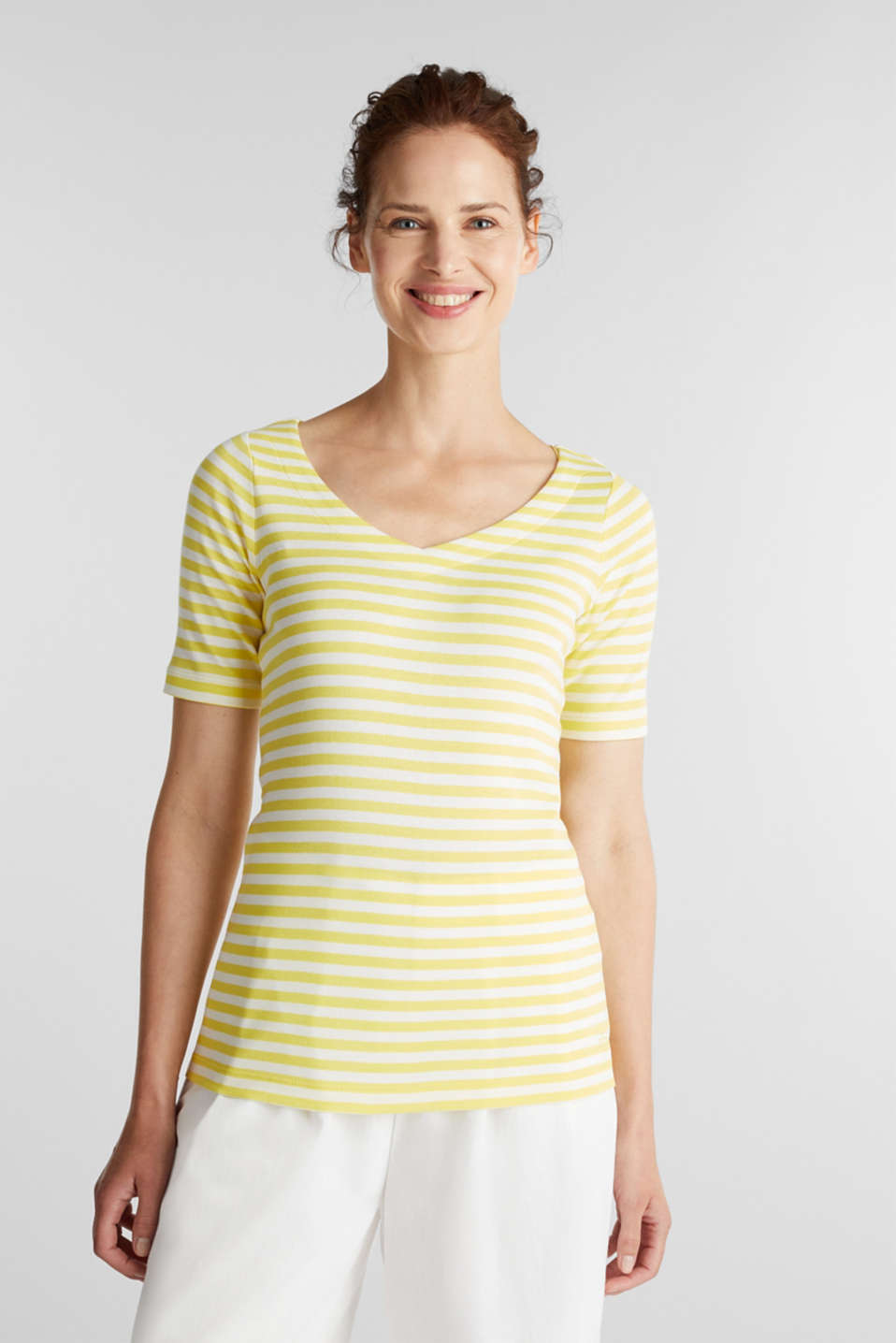 Jersey top made of 100% organic cotton, BRIGHT YELLOW, detail image number 0