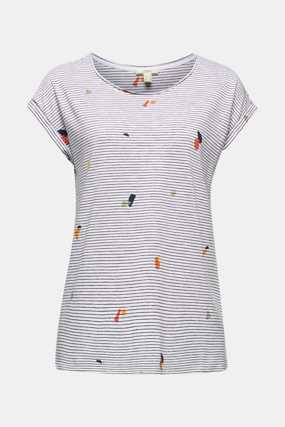 T-shirt with a striped print, WHITE, detail image number 6