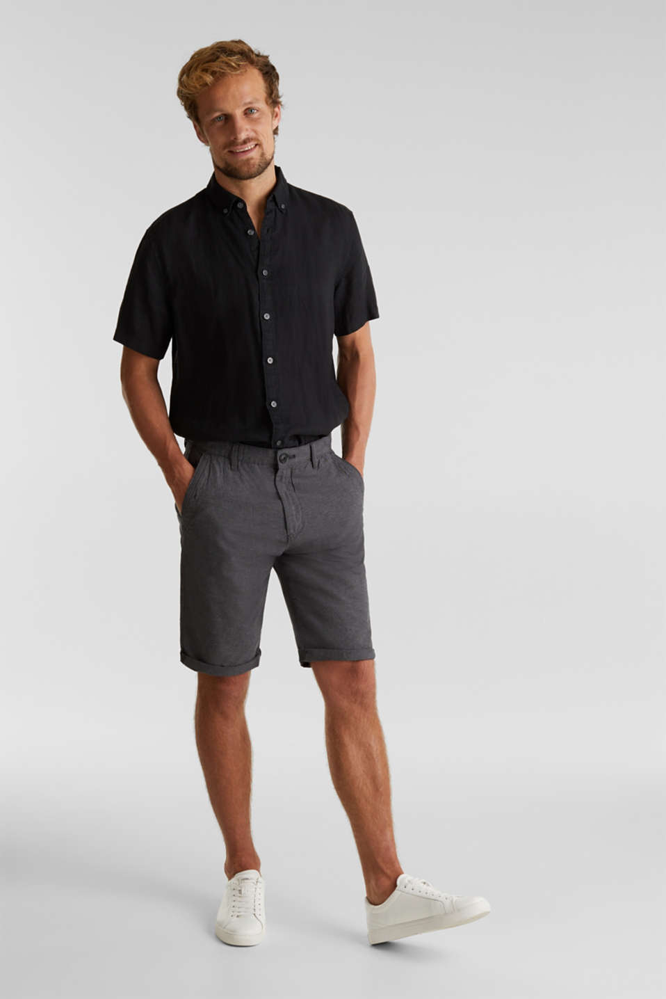 Shorts made of 100% cotton, ANTHRACITE, detail image number 1