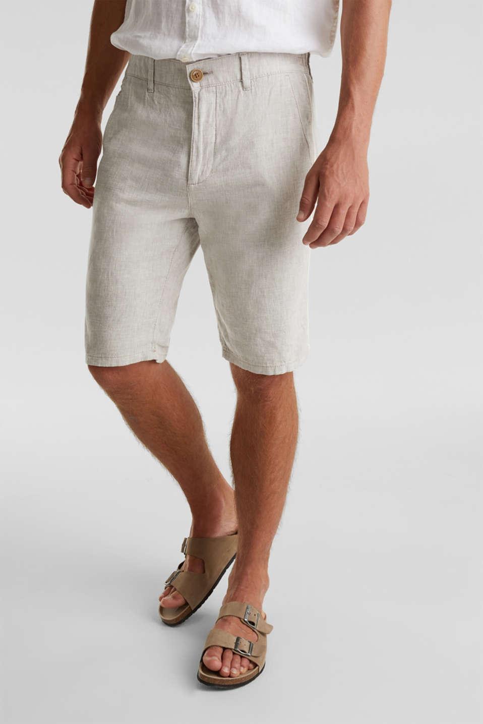 Shorts made of blended linen, BEIGE, detail image number 0