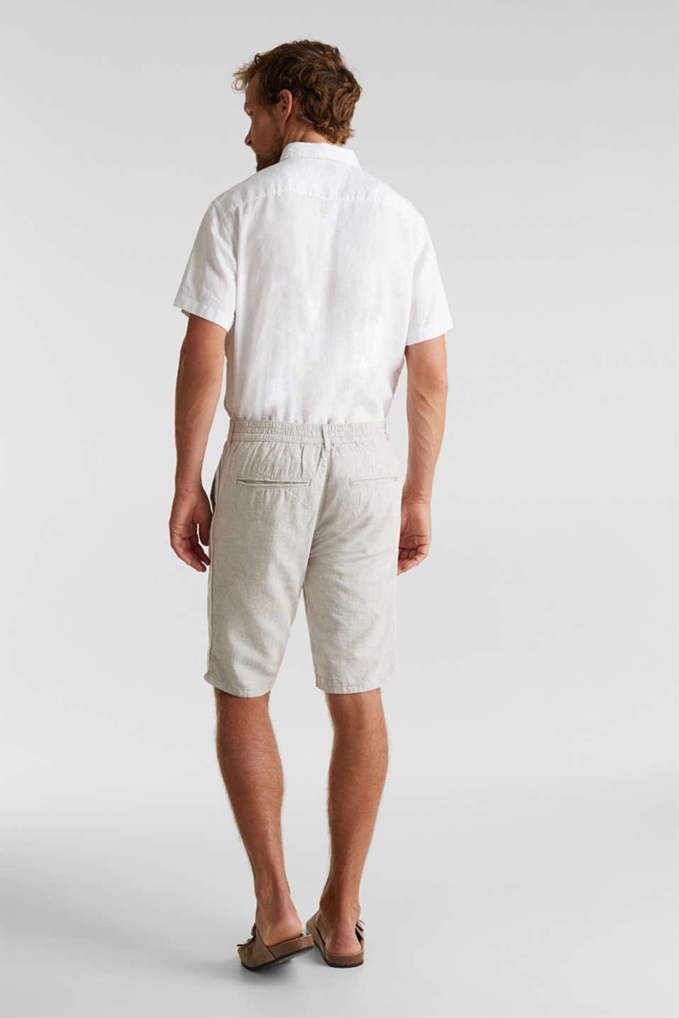 Shorts made of blended linen, BEIGE, detail image number 3