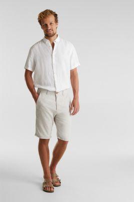 Shorts made of blended linen, BEIGE, detail