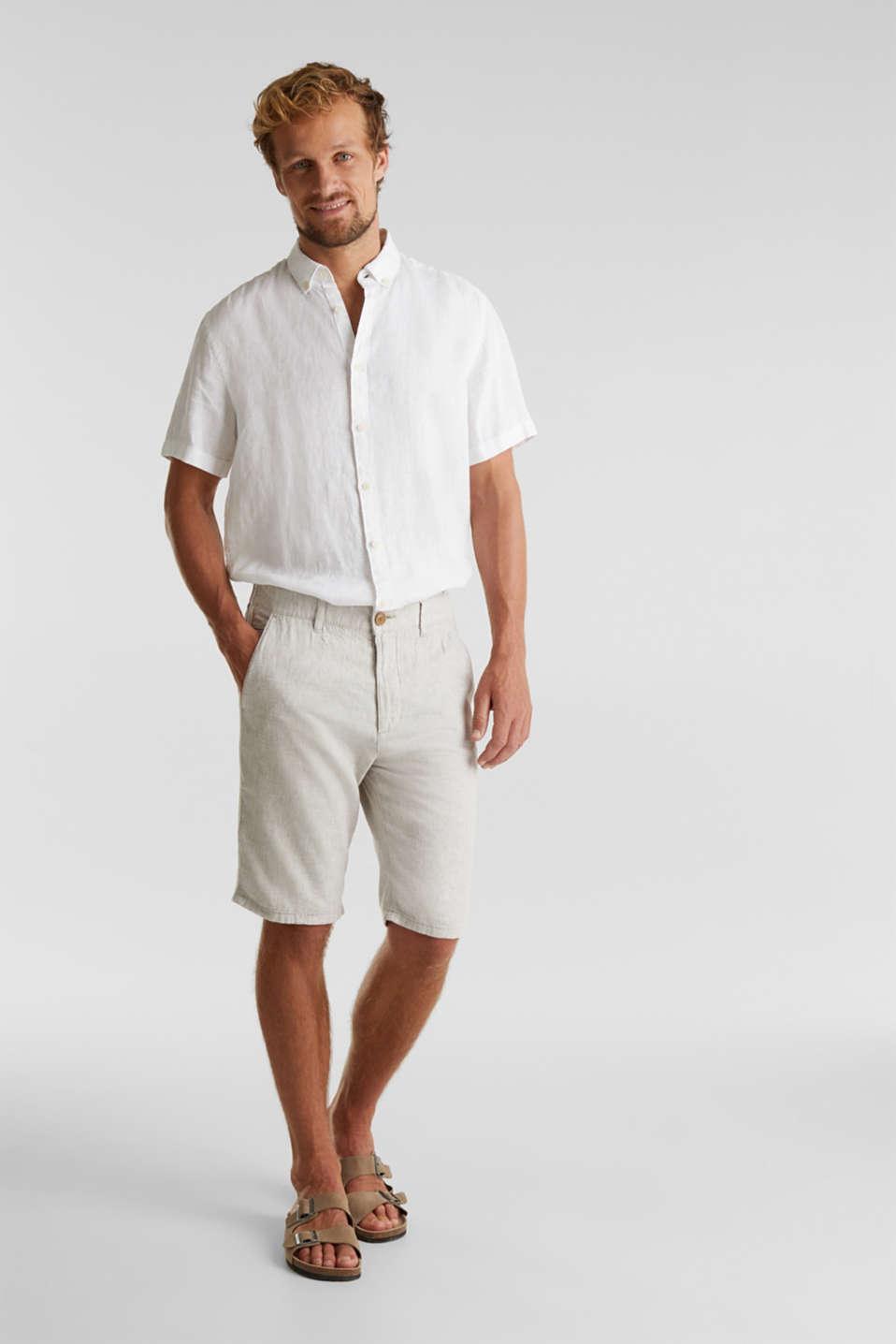 Shorts made of blended linen, BEIGE, detail image number 1