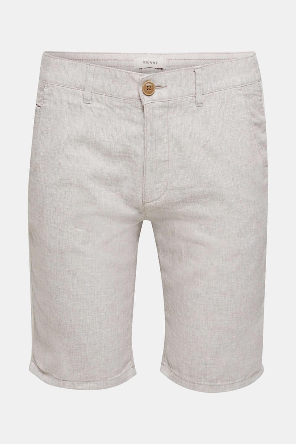 Shorts made of blended linen, BEIGE, detail image number 5