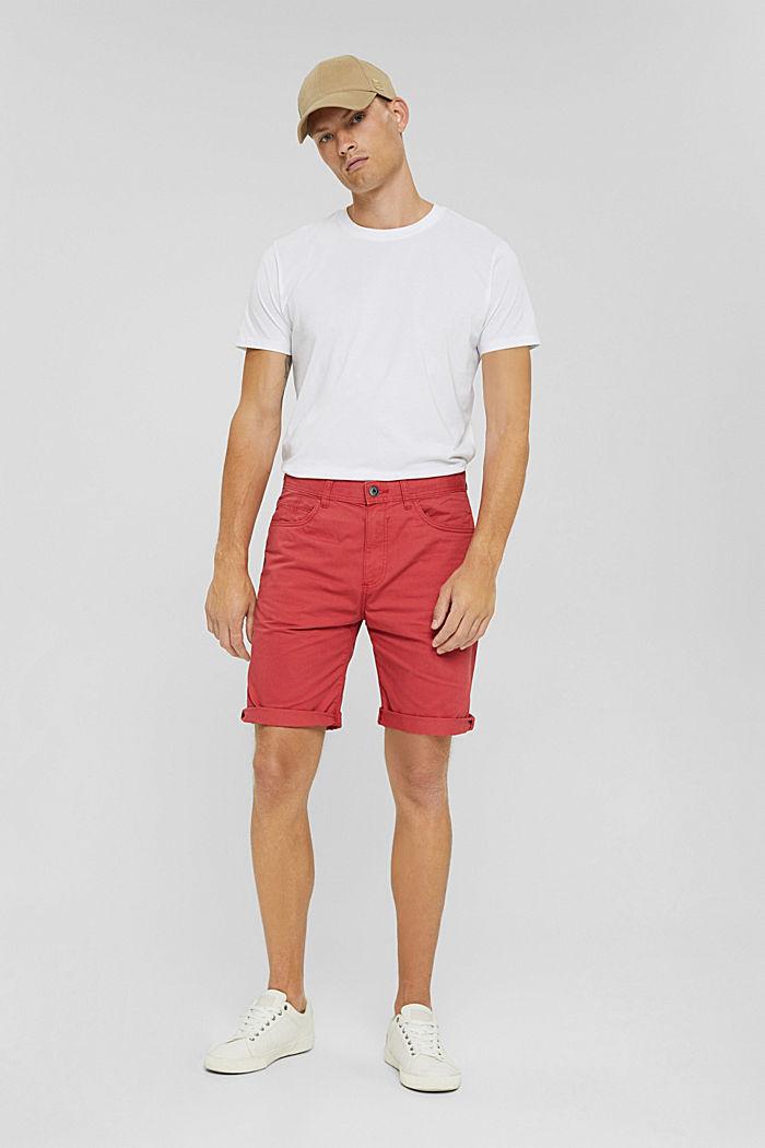 Shorts made of 100% cotton, ORANGE RED, detail image number 1