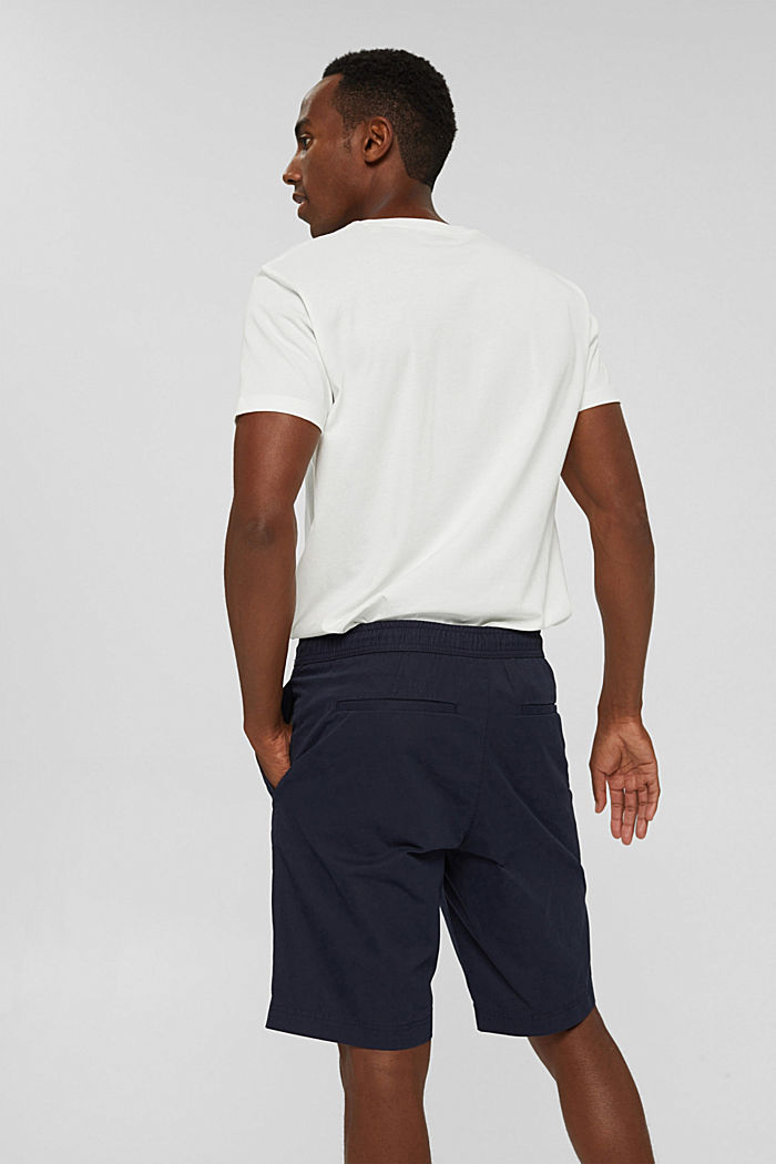 Shorts with elasticated waistband, 100% cotton, NAVY, detail image number 3