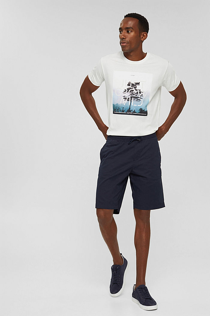 Shorts with elasticated waistband, 100% cotton, NAVY, detail image number 1